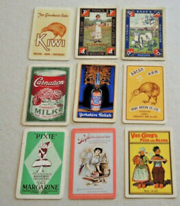 9 VINTAGE FOOD SWAP CARDS ADVERTISING KIWI BACON PAGES BUTTER KLEEN-MAID USA #8