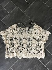ECRU/CREAM CROCHET SIZE SMALL FLORAL CROCHET CROPPED TOP BNWTS ATMOSPHERE