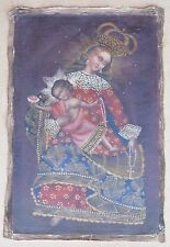 "Religious Cusco Peru Folk Art Oil Painting 15"" x 23""- Crowned Virgin & Child"