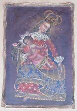 "Religious Cusco Peru Folk Art Oil Painting 15"" x 23""- Crowned Virgin & Child"