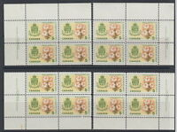 CANADA #419 5¢ White Garden Lily Matched Set Plate Blocks MNH