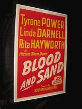 "Original TYRONE POWER BLOOD & SAND 1 Sheet 27"" X 41"" LINEN BACKED Linda Darnell"