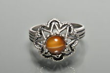 Sterling Silver Cats Eye Stone Ring 925 Size 5 1/2 Vintage 0264