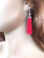 RED SEED BEADED HANDMADE TASSEL LONG FASHION TRENDY CHANDELIER EARRINGS E55/3