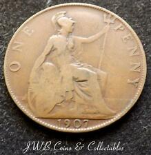 1907 Edward VII One Penny 1d Coin - Great Britain,.