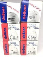 Debeer Official Softballs Lot of 6 212 12 Steam welded Kapok Cork