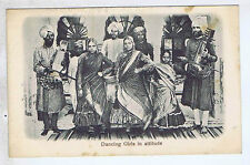 DANCING GIRLS INDIAN ETHNIC INDIA ORIGINAL VINTAGE OLD POSTCARD QW
