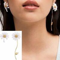 Fashion White Daisy Flower Enamel Tassel Asymmetric Earrings Stud Women Jewelry
