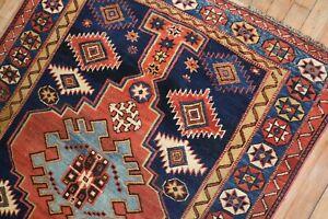 Antique Caucasian Shirvan Kuba Kazak Snowflake Rug Size 3'6''x4'6''