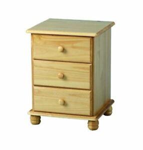 Seconique Sol 3 Drawer Bedside Chest Solid Wood Pine, 46L x 43W x 62Hcm.