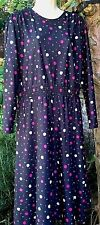 "Ladies dress size 46"" vintage 1980s pretty black dress pink & white polka dots"