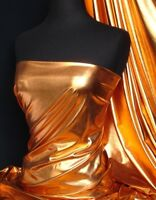 Bronze Orange Wet Look 4 Way Stretch Lycra Fabric NG253 BRNZ