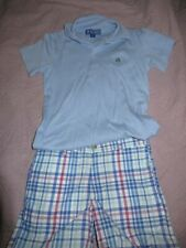 NWOT J. Bailey blue short sleeve polo shirt plaid short set boys 5 free ship USA