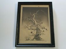 RARE MILDRED BRYANT BROOKS ETCHING BIRDS IN TREE LANDSCAPE SIGNED LIMITED OLD