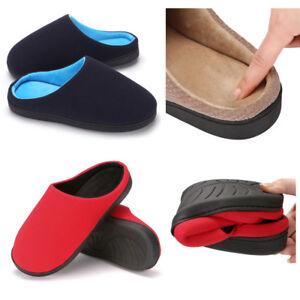 Men's Memory Foam Slip On Slippers Plush Lined House Shoes for Anti-Skid Rubber