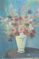 VINTAGE FRENCH OIL ON CANVAS PAINTING IMPRESSIONIST STILL LIFE FLOWERS BERGES