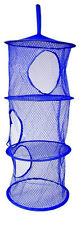Layer Hanging Hamper Mesh Storage Closet Organizer Kids Garage Laundry Room Blue