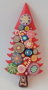 Millefiori BILLIE BEADS Christmas Tree Pin Hand Sculpted Polymer Clay 2002 C1