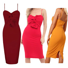 Ladies Womens Strappy Bow Front  Bodycon Midi  Party Dress Evening Club Wear