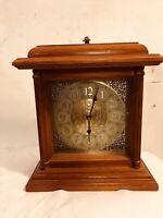 Clock Mantle Maple Battery Operated Runs OK.Brass&wood.C10Pix4Detail. MAKE OFFER