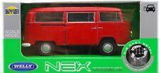 1972 VW VOLKSWAGEN BUS T2 1:34-1:39 RED WELLY METAL CAR NIB