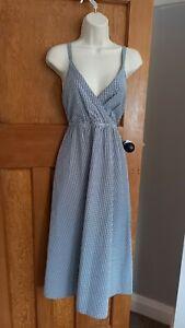 Fat Face Blue Matilda Gingham Midi Cotton Dress Size 6 UK