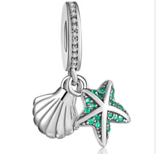 Fashion Silver European CZ Charm Starfish Spacer Beads Fit Necklace Bracelet DIY
