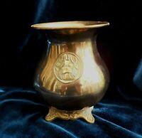 Antique Copper African  Tanzania or Kenya Vase  Gnu Emblem Brass ornate feet