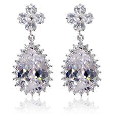 Lux Lucks Clover Drop Earrings Bridal Jewellery CZ Cubic Zirconia - CRYSTALA