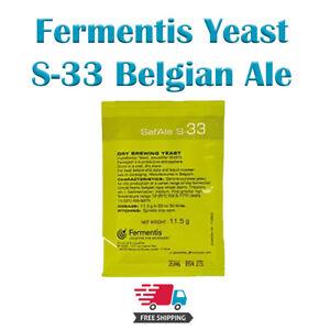 Fermentis Safale S-33 Yeast -  11.5g - Belgian Ale Brewers Yeast - Sameday P&P