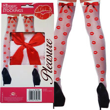 Sexy Stockings Tights Ladies Hot Red Bow Pleasure Womens Play Dress Up Seductive