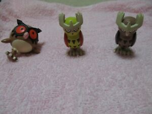 Pokemon TOMY Monster Collection Mini Figure Hoothoot Noctowl Shiny Noctowl Japan