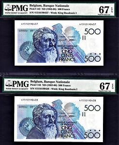 Belgium 2 Consecutive 500 Francs 1982-98 Pick-143 Sign 5 & 15 GEM UNC PMG 67 EPQ