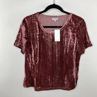NWT Splendid Womens Size Large Crushed Velvet Ruby Red Top Short Sleeve scoop
