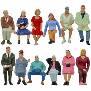 Model Railway 12pcs G Gauge Figures 1:25 Seated People 12 Different Poses P2513