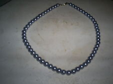 """COSTUME JEWELRY 16"""" TAUPE NECKLACE PEARLS  1/4""""  ROUND BEADS"""