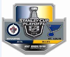 2019 NHL PLAYOFFS PIN 1ST ROUND WINNIPEG JETS ST. LOUIS BLUES PUCK STYLE