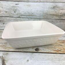 """Signature Houseware Stoneware Embossed Berries Ivory Square Baking 9"""" Dish"""