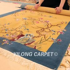 YILONG 4'x6' Ginger Handwoven Wool Carpet Chinese Art Deco Classic Area Rug