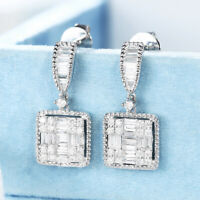 Gorgeous 925 Silver Drop Earrings for Women White Sapphire Jewelry A Pair/set