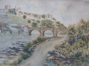 Albert E Boyce (1886-1956) 1918 Watercolour Richmond Castle and Bridge Yorkshire