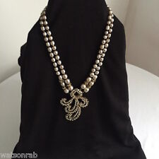 Vintage Miriam Haskell Double Strand Signed Pearl & Rhinestone Pendent Necklace