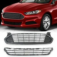 Upper&Lower Front Radiator Grille Grill Kit For 2013-2016 Ford  Fusion/Mondeo
