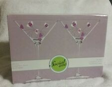 Martini Cocktail Glass Set of 2 Purple Flowers Luigi Bormioli Social Ave NIB