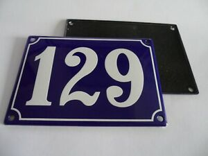 Old French Blue Enamel Porcelain Metal House Door Number Street Sign / Plate 129