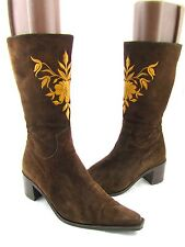 MARC O' POLO Brown Suede Leather Steifel Embroidery Knee High Boots 10.5 40.5