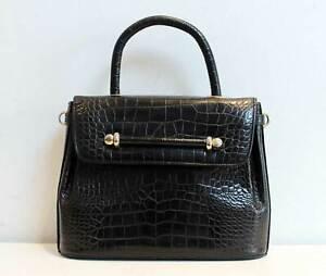 Vintage Bally Croc Leather Tote Bag Black