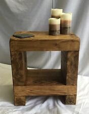 side table coffee rustic chunky wood bed solid sleeper cube lamp cabinet