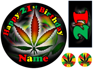 WEED MARIJUANA RASTA INSPIRED PERSONALISED EDIBLE ICING CAKE TOPPER UP TO A3