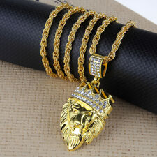"Men's Hip Hop Gold Plated Crown Lion Crystal Pendant 30"" Link Chain Necklace"